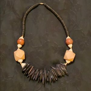 Vintage Wooden Beaded Statement Necklace